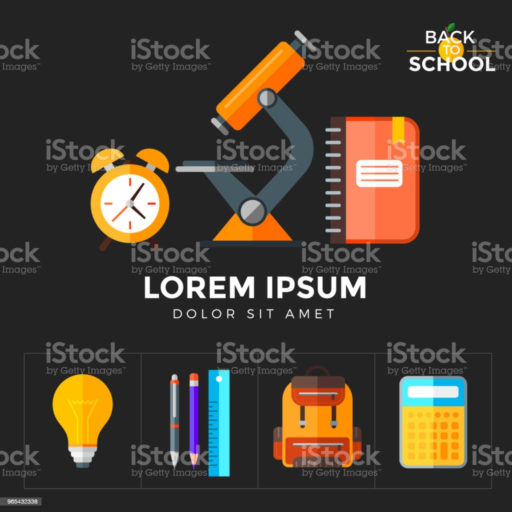 Vector back to school icons set. Education object in flat style on dark vector back to school icons set education object in flat style on dark - stockowe grafiki wektorowe i więcej obrazów alarm royalty-free