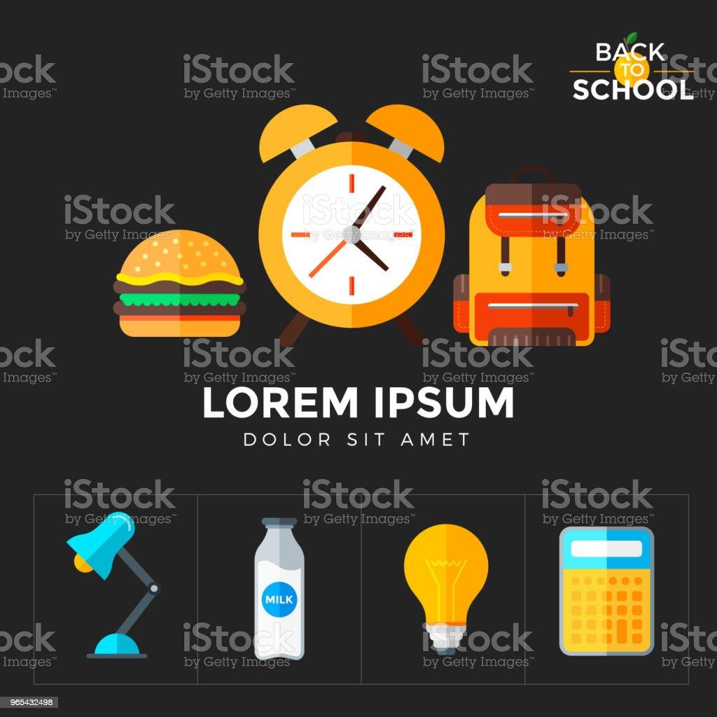 Zurück zu Ikonen Schulset Vektor. Bildung-Objekt im flachen Stil auf dunklen - Lizenzfrei Alarm Vektorgrafik