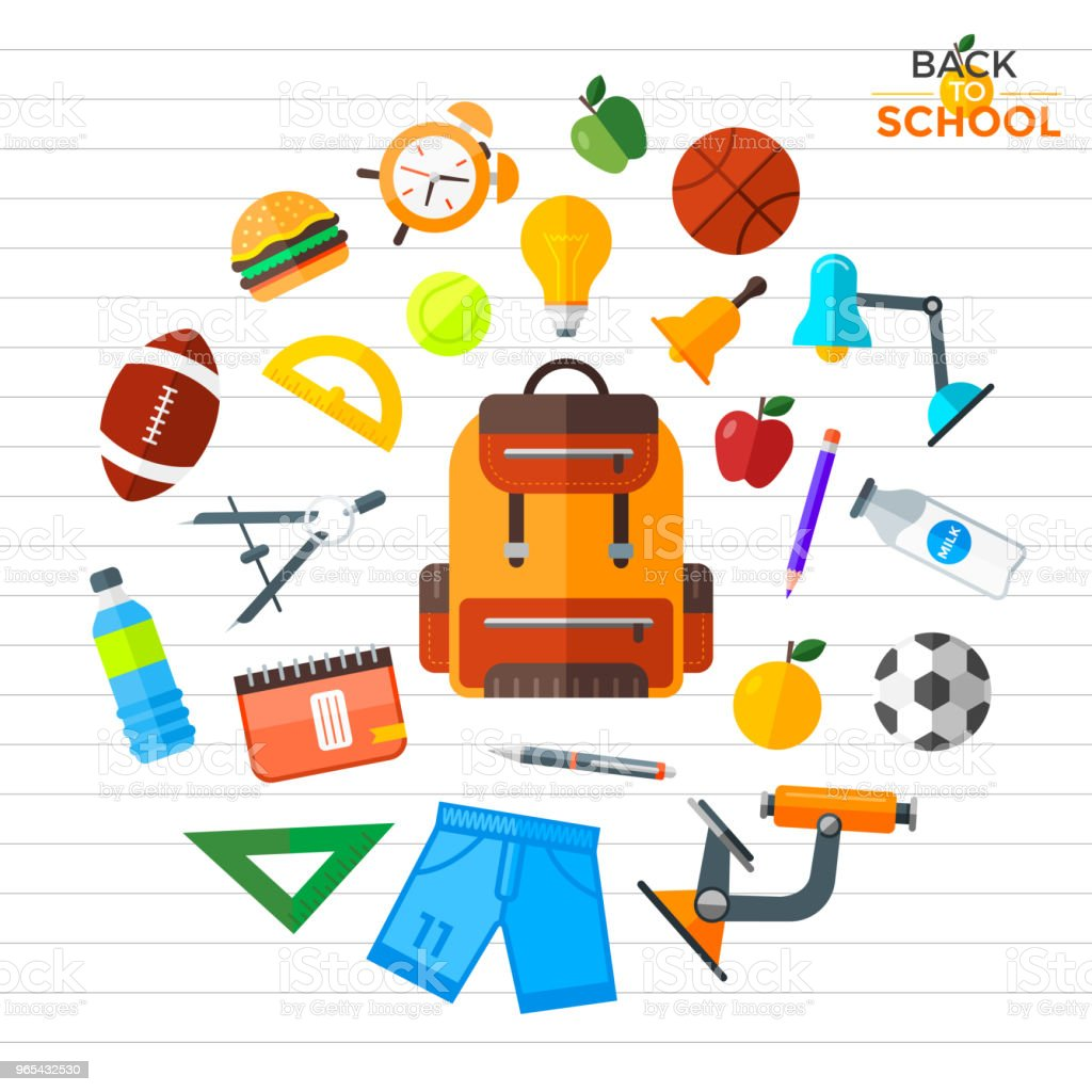 Vector back to school icons set. Education object in flat style on notebook paper background royalty-free vector back to school icons set education object in flat style on notebook paper background stock vector art & more images of back to school
