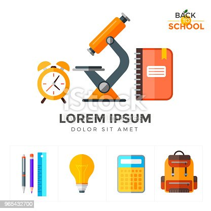 Vector Back To School Icons Set Education Object In Flat Style On White Stock Vector Art & More Images of Alarm