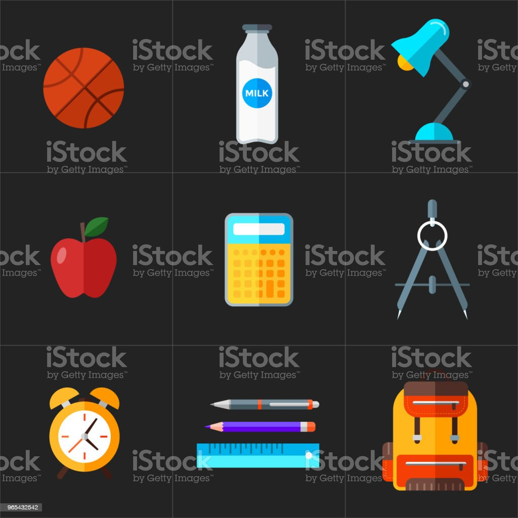 Vector back to school icons set. Education object in flat style. royalty-free vector back to school icons set education object in flat style stock illustration - download image now