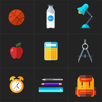벡터 다시 학교 아이콘 세트입니다 평면 스타일 교육 개체입니다 가방에 대한 스톡 벡터 아트 및 기타 이미지