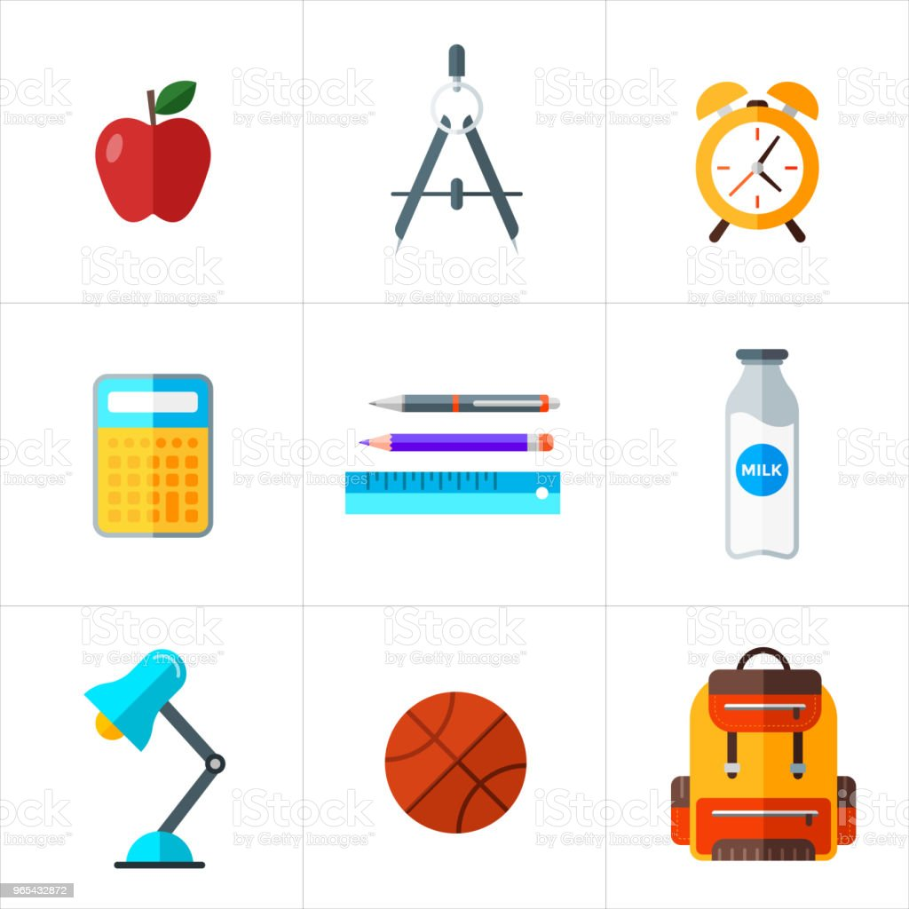 Vector back to school icons set. Education object in flat style. royalty-free vector back to school icons set education object in flat style stock vector art & more images of alarm