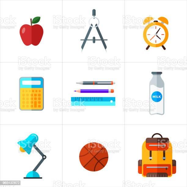 Wektor Powrót Do Szkoły Ikony Ustawione Obiekt Edukacyjny W Płaskim Stylu - Stockowe grafiki wektorowe i więcej obrazów Alarm