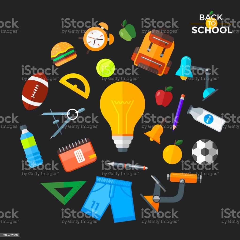 Vector back to school icons set. Education object in flat style. vector back to school icons set education object in flat style - stockowe grafiki wektorowe i więcej obrazów alarm royalty-free
