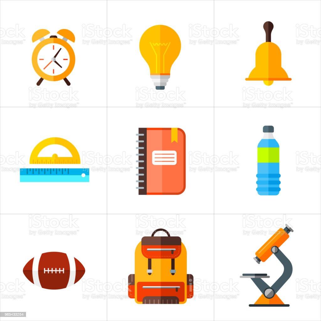 Vector back to school icons set. Education object in flat style. vector back to school icons set education object in flat style - stockowe grafiki wektorowe i więcej obrazów dowcip rysunkowy royalty-free