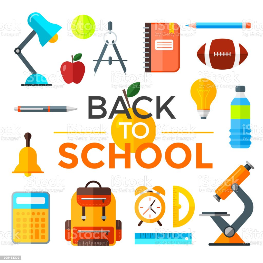 Vector back to school icons set. Education object in flat style. royalty-free vector back to school icons set education object in flat style stock vector art & more images of back to school