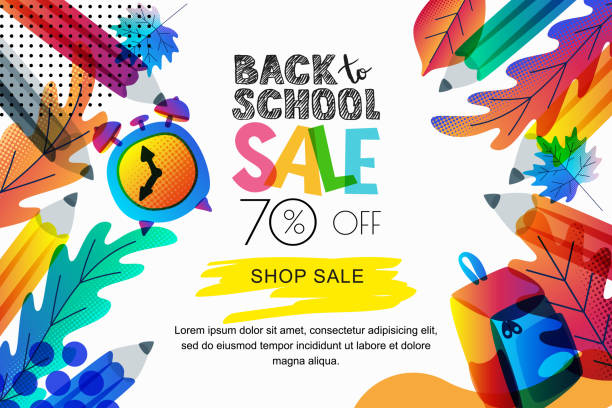 Vector back to school sale banner, poster background. Color leaves, pencils, clock, backpack on white background. Vector horizontal back to school sale banner, poster background. Color gradients leaves, pencils, clock, backpack on white background. Layout for discount labels, flyers and shopping. back to school stock illustrations