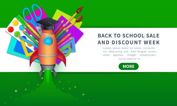 illustrations, cliparts, dessins animés et icônes de modèle de bannière de vente de retour à l'école de vecteur avec des approvisionnements d'éducation comme des crayons, des brosses de peinture, du papier de couleur, la palette, la règle et les ciseaux pour la promotion d'escompte de magasin en ligne - niveau primaire