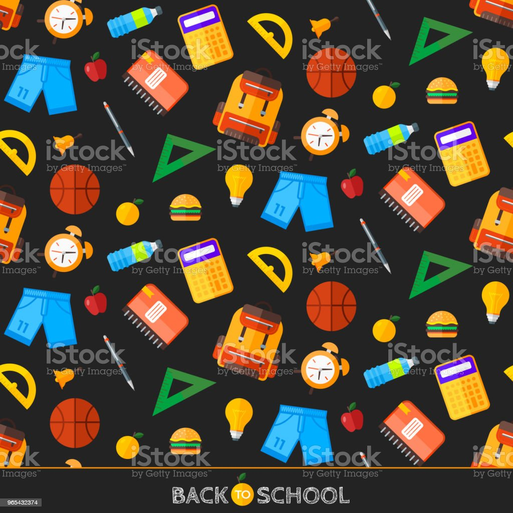 Vector back to school set of seamless pattern. High school object items in flat style. royalty-free vector back to school set of seamless pattern high school object items in flat style stock vector art & more images of alarm