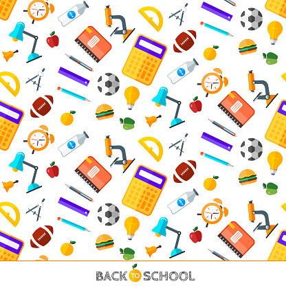 Vector Back To School Set Of Seamless Pattern High School Object Items In Flat Style Stock Illustration - Download Image Now