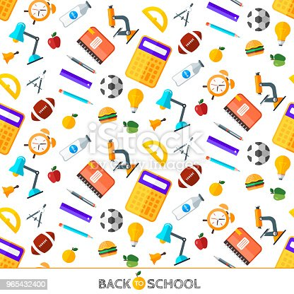 Vector Back To School Set Of Seamless Pattern High School Object Items In Flat Style Stock Vector Art & More Images of Alarm 965432400