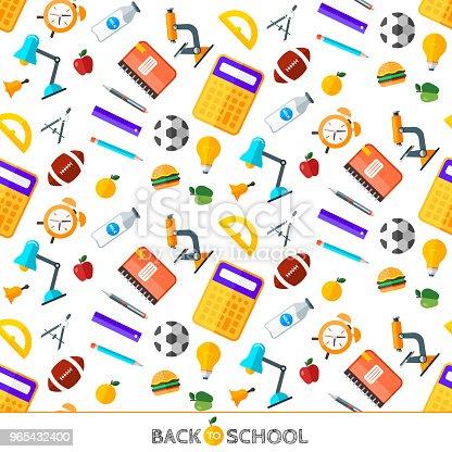 Vector Back To School Set Of Seamless Pattern High School Object Items In Flat Style - Stockowe grafiki wektorowe i więcej obrazów Alarm 965432400