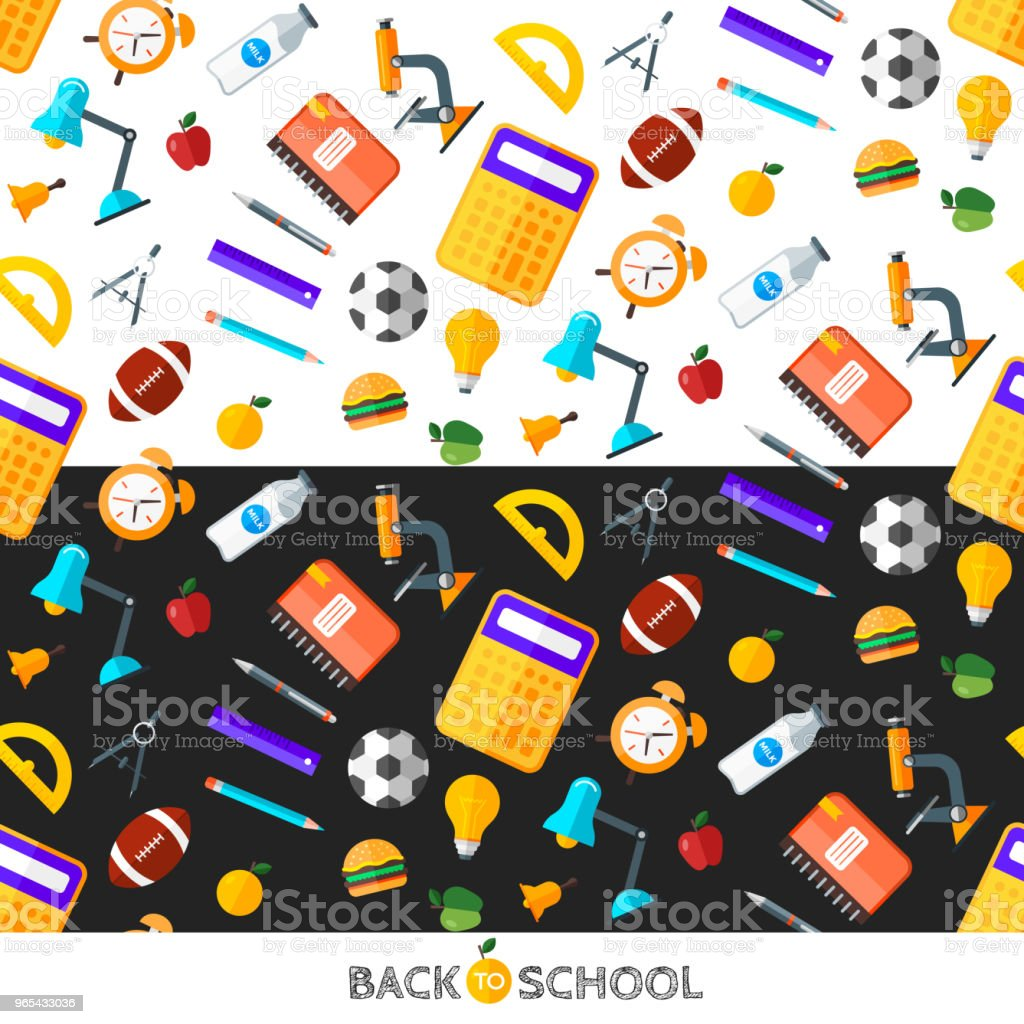 Vector back to school set of seamless pattern. High school object items in flat style. vector back to school set of seamless pattern high school object items in flat style - stockowe grafiki wektorowe i więcej obrazów alarm royalty-free