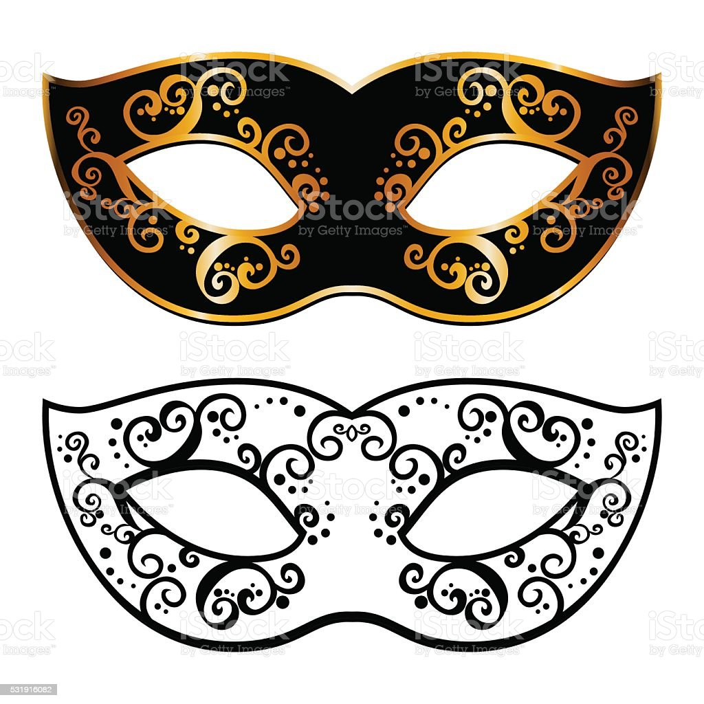Vector Back Venetian Carnival Mardi Gras Party Mask Royalty Free