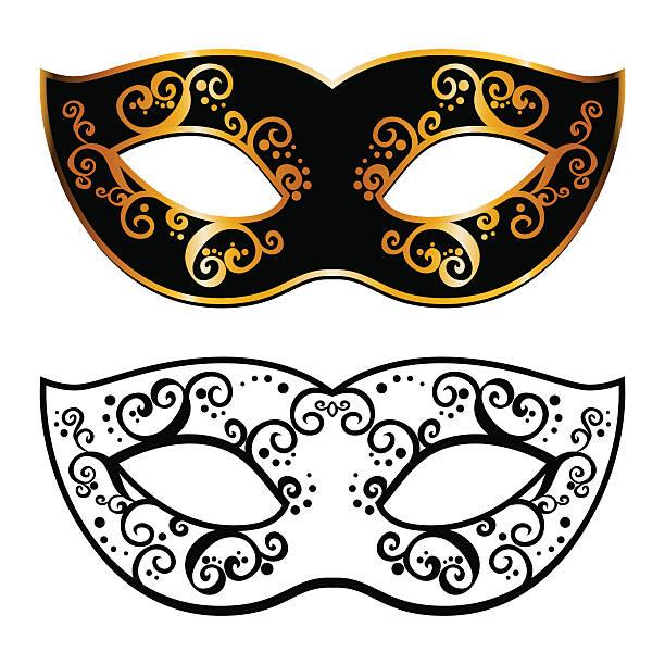 Vector Back Venetian Carnival Mardi Gras Party Mask Art Illustration