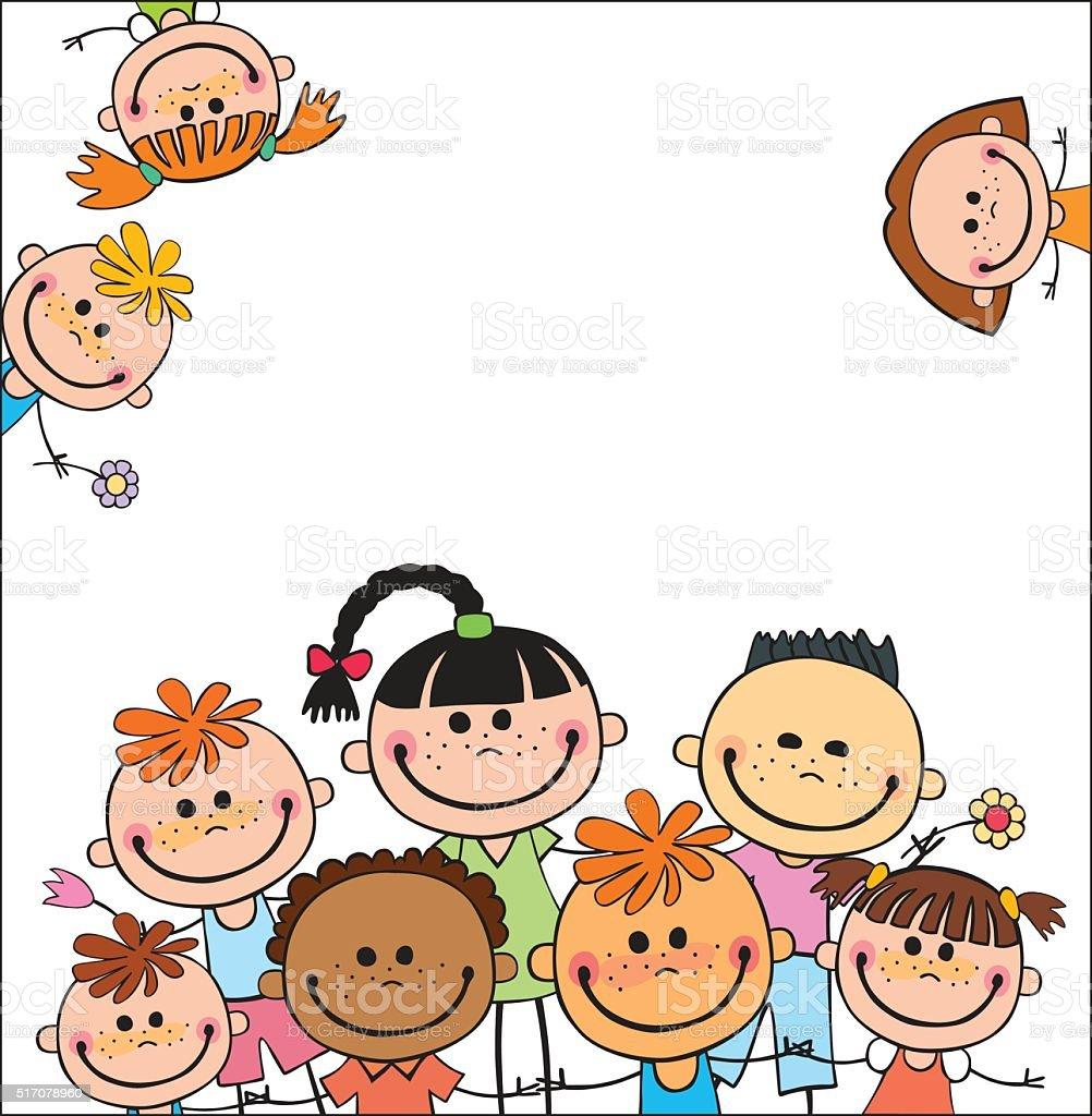 Vetor fundo em branco com campo de verão para crianças - ilustração de arte em vetor