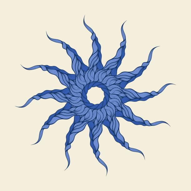 vektor hintergrund blau lange locken haar oder seil - langhaarspitzen stock-grafiken, -clipart, -cartoons und -symbole