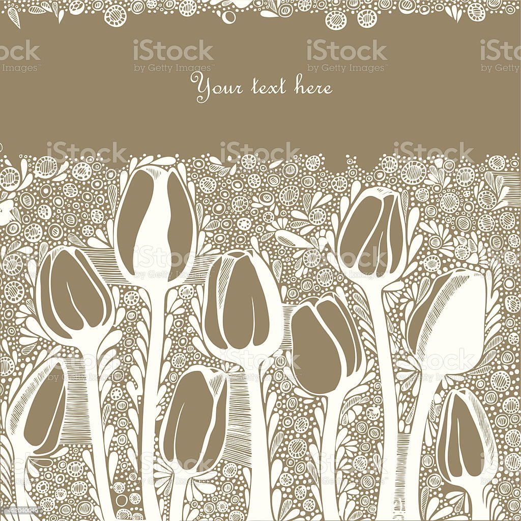Vector background for greeting card with artistic tulip flowers royalty-free stock vector art
