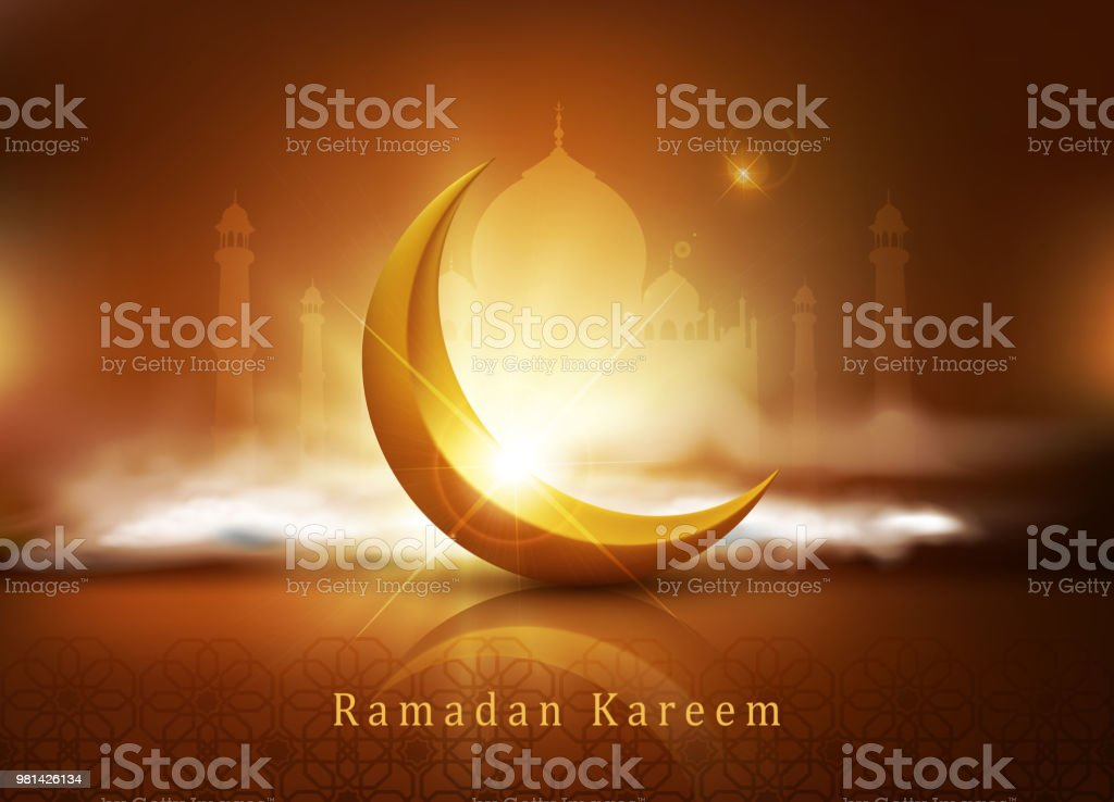 vector background for Ramadan holiday with clouds, mosque, crescent and an inscription'n'Ramadan Kareem'.A template for a banner, postcards. vector art illustration