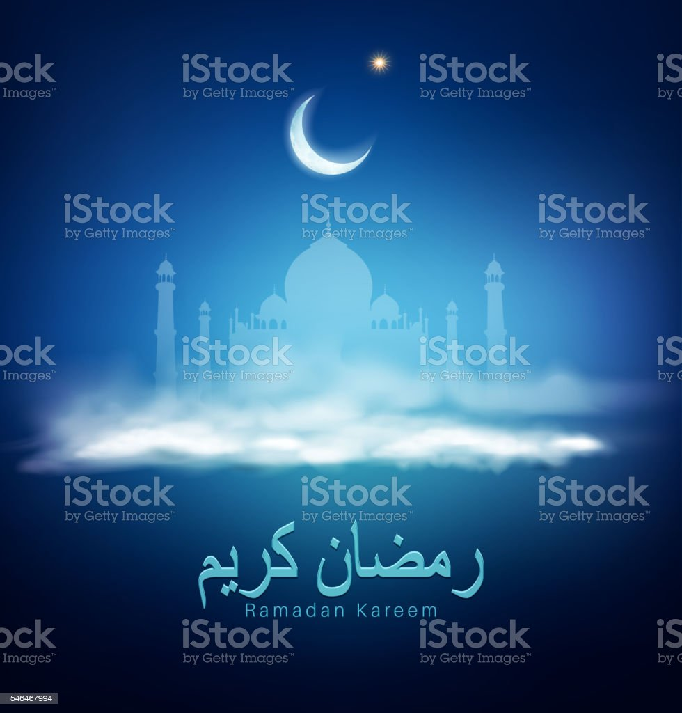 vector background for Ramadan holiday with clouds, mosque, crescent vector art illustration