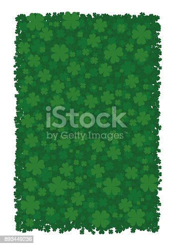 Vector background for St. Patrick's Day, green clover leaves, four-leafed clover, bringing good luck.