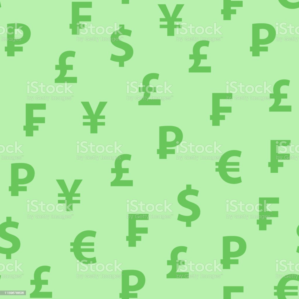 Vector Background Green Color With Symbols Of Popular Currencies