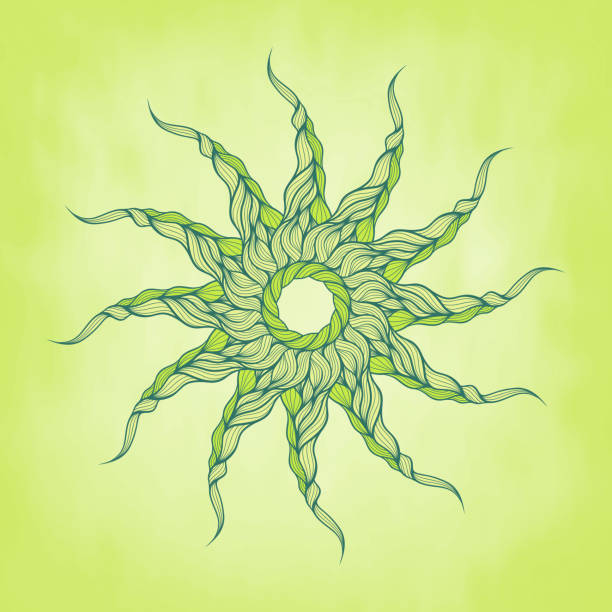 vektor hintergrund grün lange locken haar oder seil - langhaarspitzen stock-grafiken, -clipart, -cartoons und -symbole