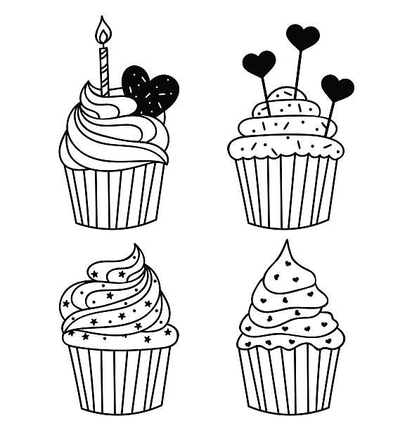 vector background. hand drawn cupcake with birthday candle. food illustration - cupcake stock illustrations, clip art, cartoons, & icons