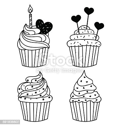 Vector Background Hand Drawn Cupcake With Birthday Candle ...
