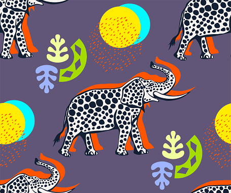 Vector background hand drawn exotic wild animals elephant. Hand drawn ink illustration. Modern ornamental decorative background. Print for textile, cloth, wallpaper, scrapbooking