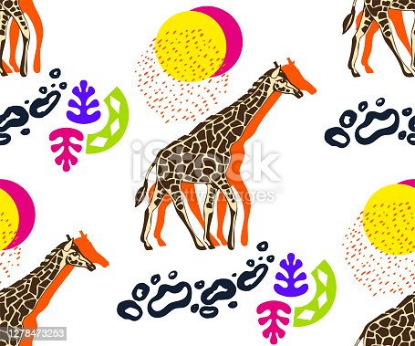 istock Vector background hand drawn exotic wild animals giraffe. Hand drawn ink illustration. Modern ornamental decorative background. Print for textile, cloth, wallpaper, scrapbooking 1278473253