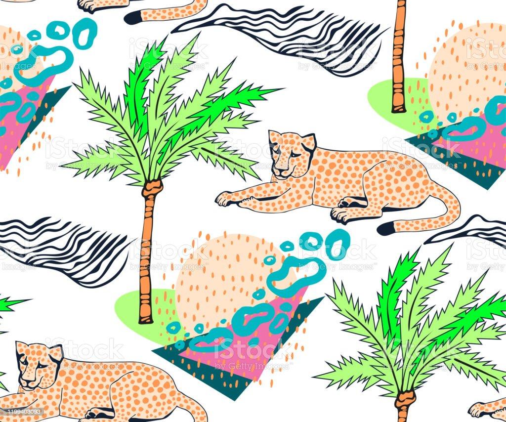 ベクトルの背景ハンドはエキゾチックな野生動物を描いた手描きインク