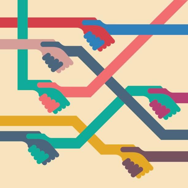 vektor-hintergrund-handshake. flaches design - mittel stock-grafiken, -clipart, -cartoons und -symbole