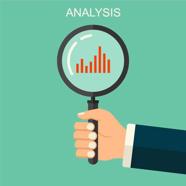 Vektor Hintergrund menschliche Hand mit Lupe. Analyse, Audit, Exploration, Zoom, Inspektion flachen Stil Konzept Illustration. – Vektorgrafik