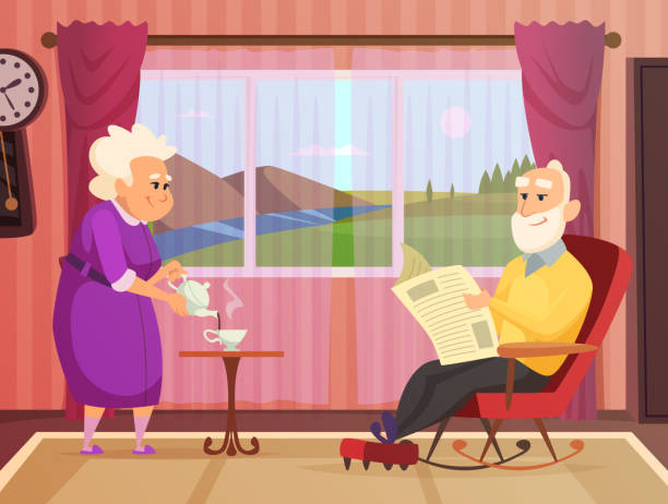 vector background illustrations of elderly couple, making home care - old man standing background stock illustrations, clip art, cartoons, & icons
