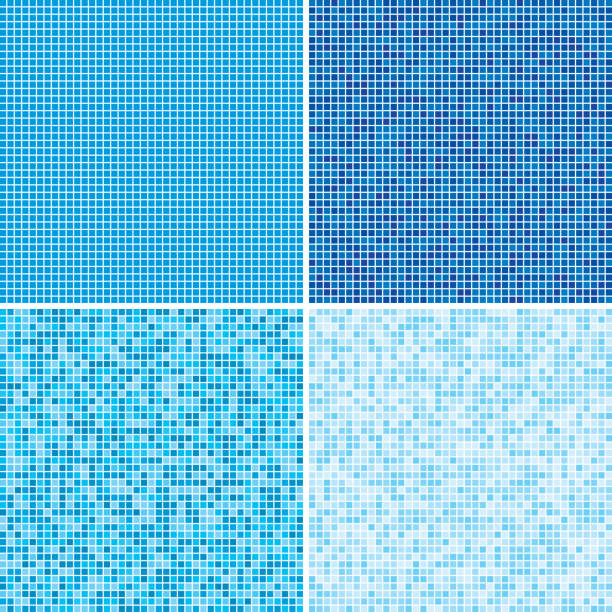 Vector background made of blue squares tiles. Vector illustration consisting of blue squares tiles. Creative abstract pixel, tile, mosaic geometric background, banner. Pattern for your kitchen, bathroom, floor, pool, roof. bathroom backgrounds stock illustrations