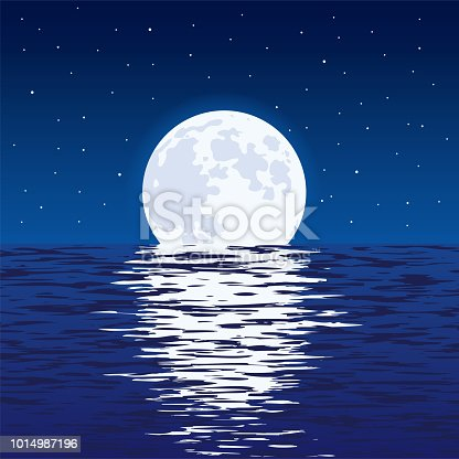 vector background of blue sea and full moon at night. light reflection of moonlight in wavy ocean water and stars in dark sky. beautiful nature landscape of moon and sea. eps10. Contains transparent objects