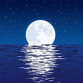 vector background of blue sea and full moon at night
