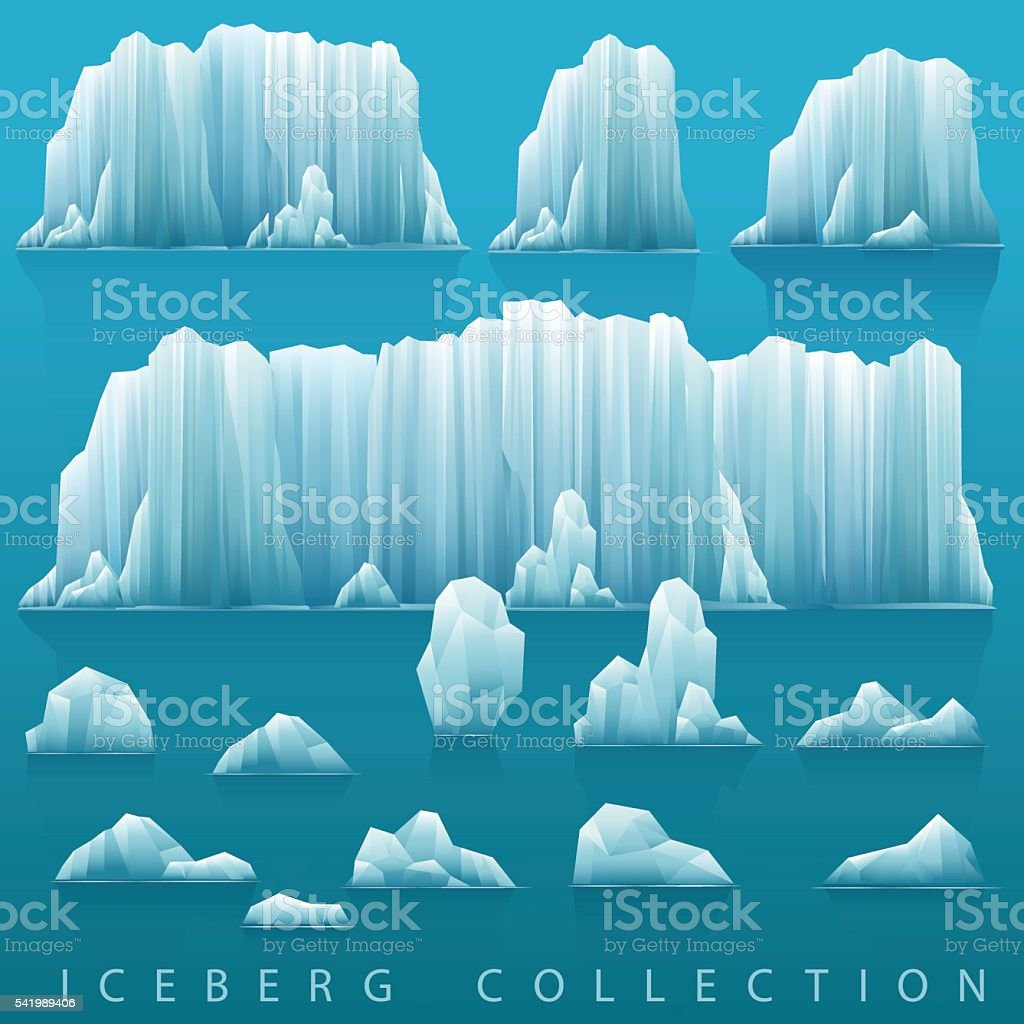 Vector background of icebergs and sea. vector art illustration