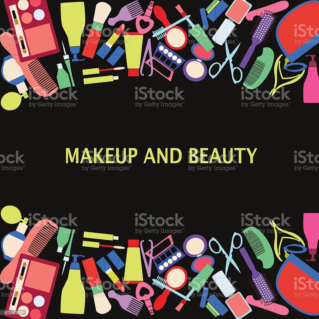 Vector background of MakeUp and beauty cosmetic Symbols. vector art illustration