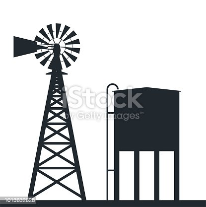 vector black and white background of rural windpump and water tank