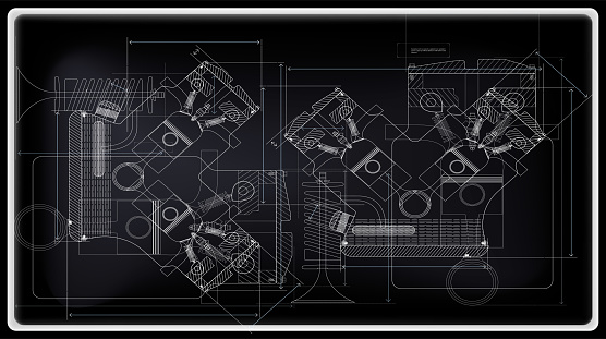 Vector background of the car engine and its components