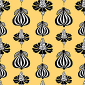 Seamless pattern of floral elements in art nouveau style.