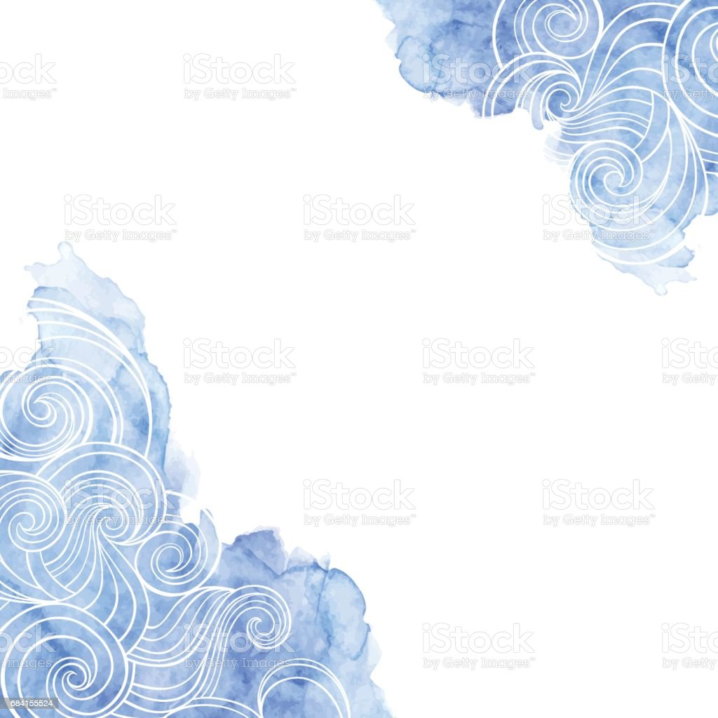 Vektör Arka Plan üzerinde Bir Deniz Tema Dalgalar Suluboya Mavi Bir