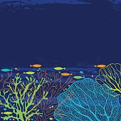 Vector background on the marine theme with underwater plants.