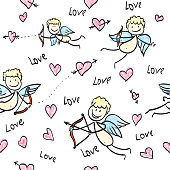 Vector background picture with cupids, angels, hearts. Illustration of a love themed image for a poster Valentine's Day.