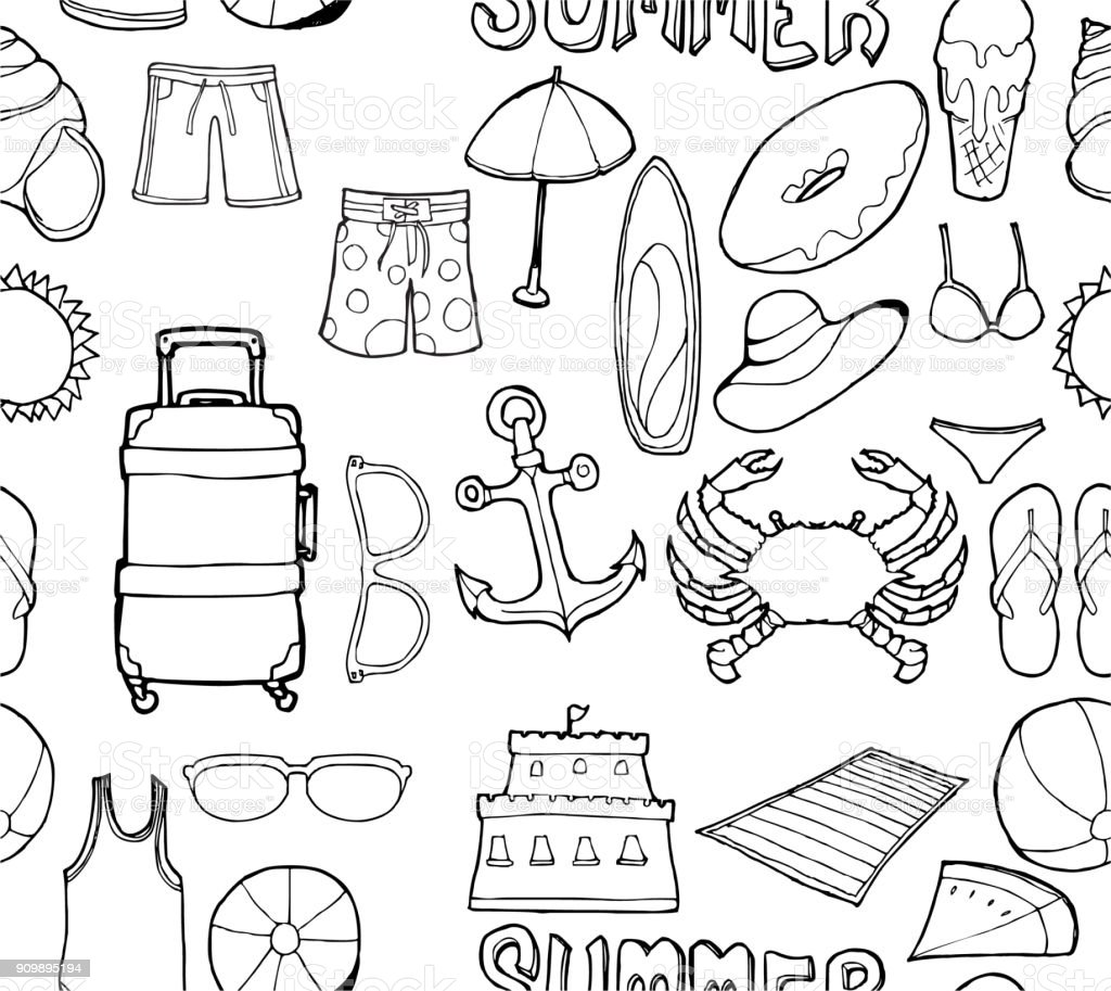 vector background seamless pattern with hand drawn summer