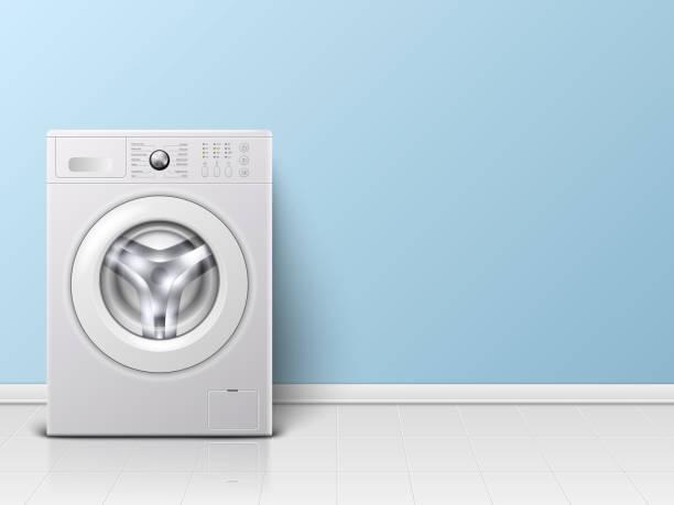 stockillustraties, clipart, cartoons en iconen met vector achtergrond met 3d realistische moderne witte staal wasmachine close-up. achtergrond. ontwerpsjabloon van watty. vooraanzicht, wasserette concept - opslagruimte