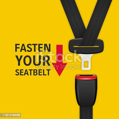 Vector Background with 3d Realistic Unblocked Passenger Seat Belt Clopeup Isolated on Yellow. Fasten Your Seatbelt. Design Template. Top View. Transport Safety Concept.